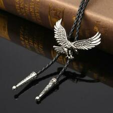 Handmade Silver American Eagle Bolo Tie Leather Cord Metal Western, Cowboy, Goth