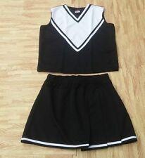 "Adult M L Real Black Cheerleader Uniform Top Skirt 36-38/28-31"" New Cosplay Goth"