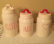 NEW ~ RAE DUNN Valentine's Day canister set of 3 - Kisses, Hugs & Red Heart VHTF