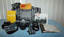 Asahi Pentax K1000 35mm SLR Film Camera Body with Pentax-M 50mm 1:2 Lens +Extras