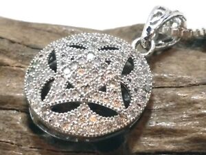 """Gorgeous Silver Plated Chain Link Rhinestone Pendant Necklace - 18"""""""