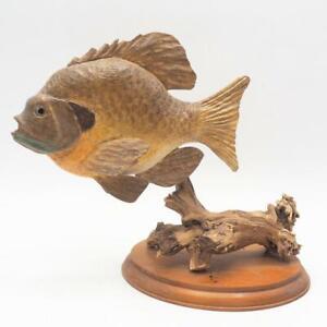 Mancave Decor Folk Art Hand Carved Solid Wood Fish on Base