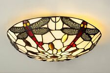 Round Dragonfly Mosaic Tiffany Glass Uplighter Ceiling Light Lamp Home Decor