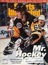 Mario Lemieux (June 8th 1992) Sports Illustrated Signed Nl Magazine Jsa