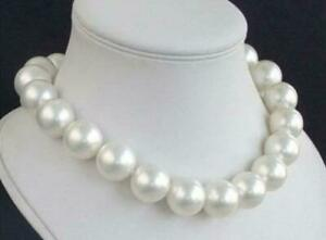 Beautiful 16mm AAA White South Sea Round Shell Pearl Necklace 18 inch