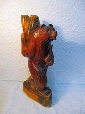 """Statuette en bois sculpté """" Ours portant un fardeau """""""