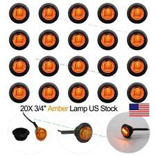 """20X Mini 3/4"""" Amber LED Clerance Marker Bullet Lights Lamp for Truck Trailer Bus"""