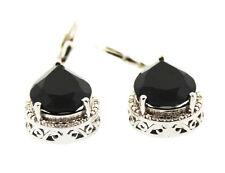 Thai Black Spinel Diamond Lever Back Earrings Platinum Overlay Sterling Silver