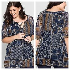 Sheego at Kaleidoscope Plus Size 22 Simply Fab Patchwork Print Tunic TOP Boho