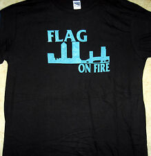 "FLAG ON FIRE ""Blue Logo"" T-Shirt 100% Cotton Melodic Skate Punk Rat Town Records"