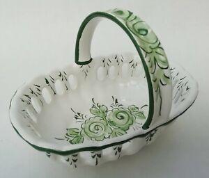 Vestal Pottery Portugal Vintage Bon Bon Candy Sweet Handled Dish Basket Dish