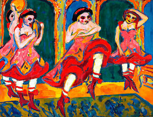 Czardas Dancers A1+ by Ernst Ludwig Kirchner Quality Canvas Print