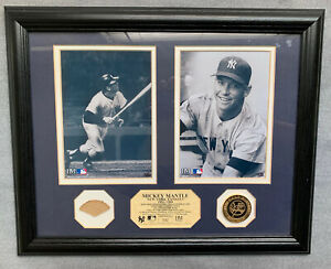 Mickey Mantle Framed 1961 Game Used Bat Photos & Gold Coin Highland Mint Yankees