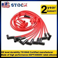 8mm Red 90 Deg Covers Male HEI Spark Plug Wire Set Ignition Cable Suits Chevy GM