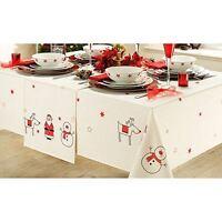 Luxury Christmas Xmas Themed Cream Table Runner 36x178cm Santa Reindeer Snowman