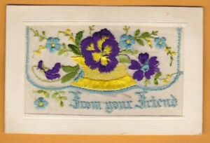 WW1 Embroidered silk postcard.  From your Friend - card insert