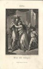 Stampa antica GOETHE GOTHE Mercurio e la maschera 1860 Antique print Alte stich