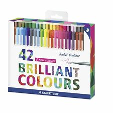 Staedtler Triplus Fineliners 334 C42 Fine Liners Assorted Colours - Pack 42