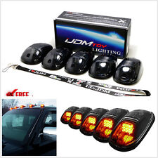 5 pcs Amber LED Cab Roof Marker Running Lights For Car SUV 4x4 Black Smoked Lens