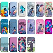 Disney Eeyore Quotes Colourful Faux Leather Flip Case Cover for iPhone Samsung