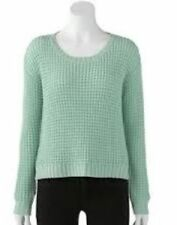 NEW $64 WOMENS JENNIFER LOPEZ MEDITTERANEAN MINT JULEP METALLIC SWEATER SIZE XS