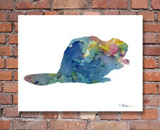 """Beaver Abstract Watercolor 11"""" x 14"""" Art Print by Artist DJ Rogers"""