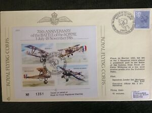 RAF Cover - BATTLE OF THE SOMME WW1 - RFC - No1 Squadron Harrier Flown Wittering