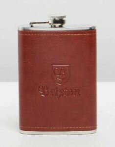 Brixton Main Label Flask 8oz in Brown Free Postage