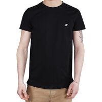 T-Shirt Uomo Maglia Mezza Manica Girocollo Casual Nera Uccellino Bianco Cotone