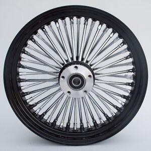 "Black & Chrome Ultima 48 King Spoke 16"" x 3.5"" Front Dual Disc Wheel For Harley"