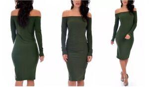 Lyss Loo Bold Move Off The Shoulder Long Sleeve Midi Dress D2045 Olive - L