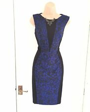 KAREN MILLEN black and blue stretchy pencil dress size 10/eu 38/us 6/business