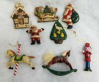 Vtg Christmas Ornaments Lot of 8 Ceramic Wood Resin Horses Soldier Santa Mice