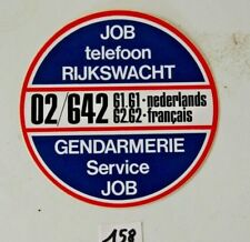 C158 Autocollant Rijskwacht - Job Telefoon - Gendarmerie - Police - 10cm