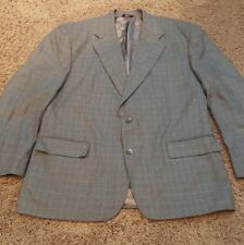 Stafford Options 44R Silk & Wool Sport Coat Jacket Blazer Windowpane Gray EUC