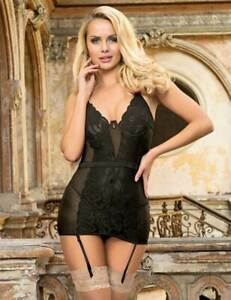 Black Embroidered Lace & Mesh Basque with Suspenders Size 8-10 12-14 16-18 20-22