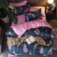Feather Printing Pink Bedding Set Duvet Quilt Cover+Sheet+Pillow Case Four-Piece