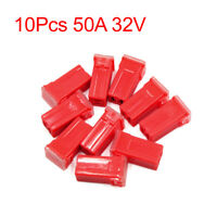 10Pcs 50A 32V Red Plastic Mini Push-in Type Female PAL Cartridge Fuses for Car