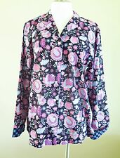 Vera Bradley Women's Cotton Shirt Top Alpine Floral Black L NWT