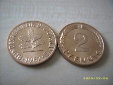 selten:*** SAHNESTÜCK *** 2 Pfennige 1967 G in bankfrische Erhaltung
