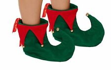 GREEN AND RED ELF BOOTS SHOES WITH BELLS CHRISTMAS XMAS FANCY DRESS COSTUME HB
