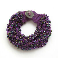 Multi-Color Acrylic Beads Multi-Layer Bracelet Purple Silk Cord Jewelry