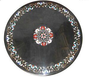 "30"" black round marble Table Top marquetry Pietra Dura work Home Garden decor"