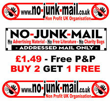 Self Adhesive No Junk Mail Sign - Letterbox / Mailbox Sign.  New Sticker (LIT)