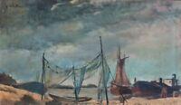 Erich Waske - Boote an der Ostsee - Öl auf Hartfaser - 1930er Jahre