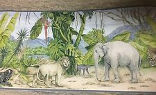 Wallpaper Border IN THE JUNGLE Kids Zebra Lion Monkey Tiger Elephant Safari