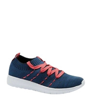 Womens Mesh Trainers Size 7 Navy Blue Walking Shoes Comfort Lightweight Slip On