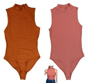Self by Self Esteem Rib Knit Mock Neck Sleeveless Juniors Bodysuit NWT