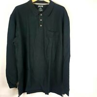 Duluth Trading Co Mens Pullover Rugby Shirt Black Long Sleeve 100% Cotton Sz XLT