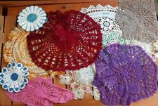 Handmade Colored Crocheted Doilies Lot 11 Pieces Pink Purple Orange Blue